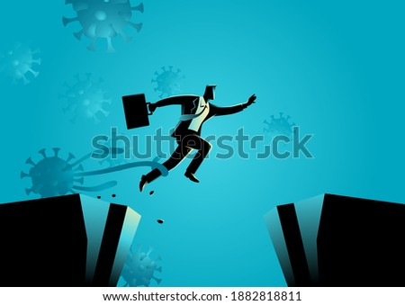 Business concept vector illustration of a businessman trying to escape from COVID-19 economic crisis