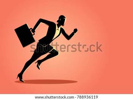 Business concept vector illustration of a businesswoman running with briefcase, business, energetic, dynamic concept #788936119