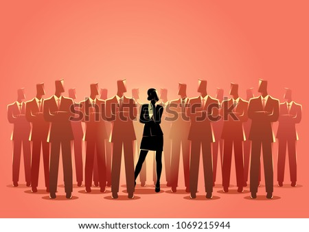 Business concept vector illustration of a businesswoman standing among businessmen. Living in a man's world concept