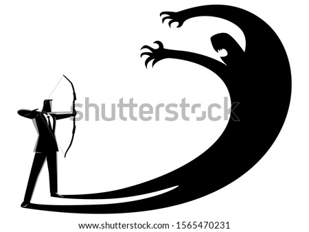 Business concept vector illustration of a man aiming his own shadow with a bow, facing fear, suppress own ego concept Foto d'archivio ©