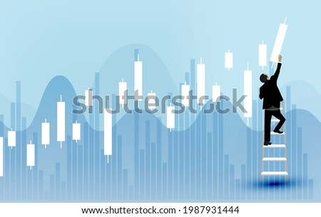 Business concept vector illustration of a man on ladder with candlestick chart background, concept of stock market Pro Vector  Photo stock ©