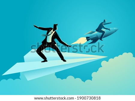 Business concept vector illustration of businessman on paper plane compete with a businessman on a rocket Stock photo ©