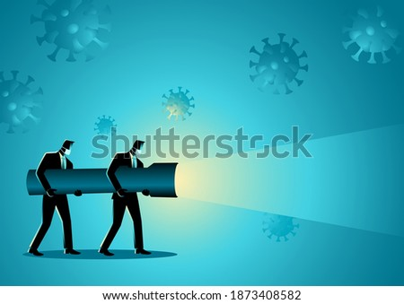 Business concept vector illustration of businessmen holding a giant flashlight during pandemic Сток-фото ©