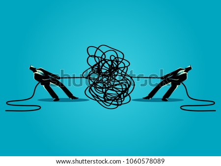 Business concept vector illustration of businessmen trying to unravel tangled rope or cable