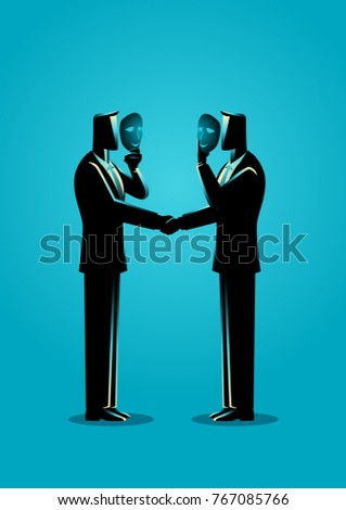 Business concept vector illustration of two businessmen giving handshake hiding in mask. Business fraud and hypocrite agreement concept.