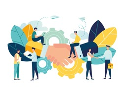 Business concept vector illustration, partnership concept, agreement of parties, hand shake, signing documents vector