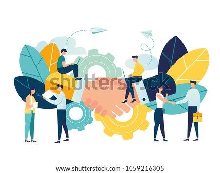 Business concept vector illustration, partnership concept, agreement of parties, hand shake, signing documents