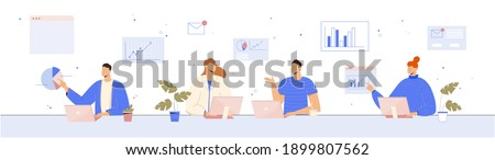 Business concept vector illustration. People analysing data, working together.  Stockfoto ©