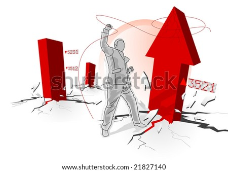 Business concept with a business trader grabbing profits. Vector illustration