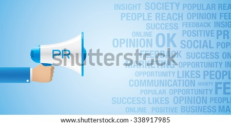 Business concept, with hand holding a bullhorn on a blue background.