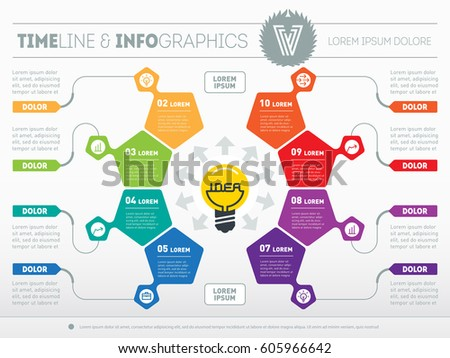 "Business concept with 8 options - from idea to final product. Web Template of a circle chart, diagram. Vector infographic of technology or education process. Light bulb with inscription ""idea""."