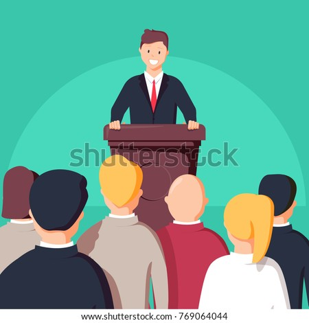 Business conference, business meeting. Man at rostrum in front of audience. Public speaker giving a talk at conference hall. Orator at tribune concepts. Modern flat design vector illustration