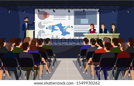 Business conference flat vector illustration. Speaker on stage and audience cartoon characters. Scientific presentation, academic symposium, professional briefing. University lecture, college faculty