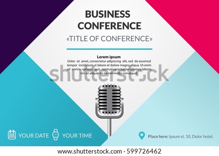 Business meeting vector download free vector art stock graphics business conference invitation concept colorful simple geometric background retro microphone template for banner stopboris Image collections
