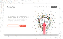 Business Conference, Landing page concept. Vector illustration