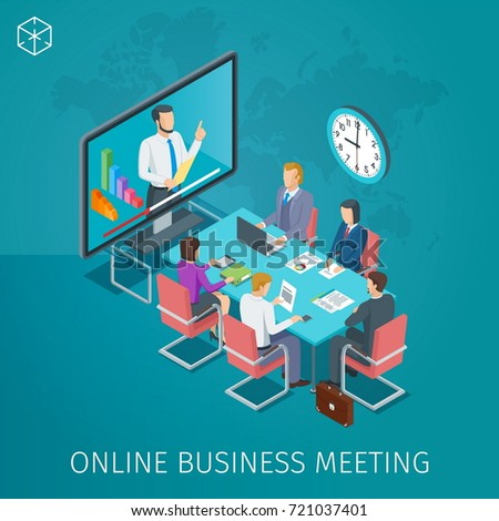 Business conference online banner. Online webinar. People listen to the lecturer. Isometric concept. Highly detailed illustration
