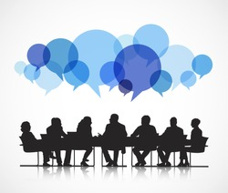 Business conference with blue speech bubble vector