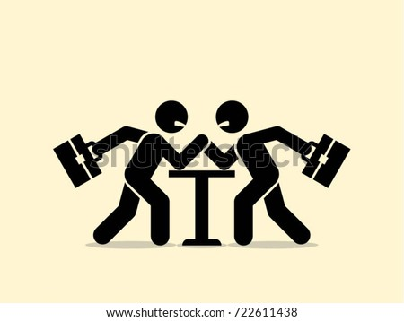 Business conflict concept. Two businessmen arm wrestling on table.