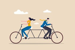 Business conflict, controversy or disagreement causing problem and failure concept, businessman and businesswoman colleagues or working team trying hard riding bicycle in opposite direction.