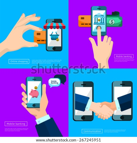 business connection and relations. Handshake, banking icons in flat, e-business, apps banner, iPhone illustration Icons shop online, business icons flat design. piggy App icons,  virtual shopping,