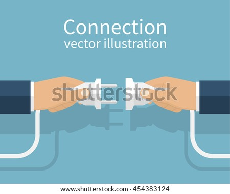 Business connection concept. Partnership. Vector illustration flat design. Businessmen connecting hold plug and outlet in hand, isolated on background. Cooperation interaction.