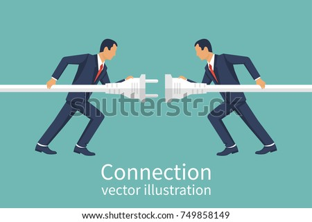 Business connection concept. Vector illustration flat design. Partnership. Businessmen connecting hold plug and outlet in hand, isolated on background. Cooperation interaction.