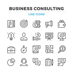 Business consulting line icons set. Modern outline elements, graphic design concepts, simple symbols collection. Vector line icons
