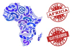 Business Contacts collage of blue mosaic map of Africa and rubber stamps. Vector red imprints with unclean rubber texture have MADE IN and READY FOR BUSINESS texts. Flat design for trade templates.