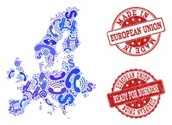 Business Contacts collage of blue mosaic map of Euro Union and rubber seals. Vector red seals with unclean rubber texture have MADE IN and READY FOR BUSINESS texts.
