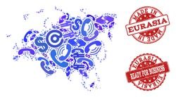 Business Contacts collage of blue mosaic map of Europe and Asia and scratched seals. Vector red seals with scratched rubber texture have MADE IN and READY FOR BUSINESS texts.