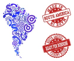 Business Contacts composition of blue mosaic map of South America and scratched seals. Vector red imprints with scratched rubber texture have MADE IN and READY FOR BUSINESS texts.