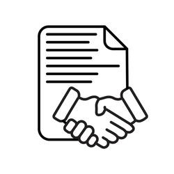 Business contract handshake line icon