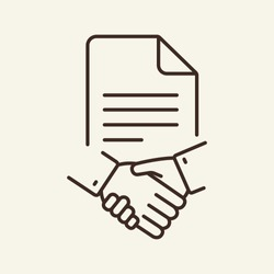 Business contract line icon. Handshake, partners, document. Business concept. Vector illustration can be used for topics like business, partnership, B2B