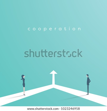 Business cooperation and partnership vector concept. Woman and man working together for common goal. Symbol of equality, collaboration, connection. Eps10 vector illustration.