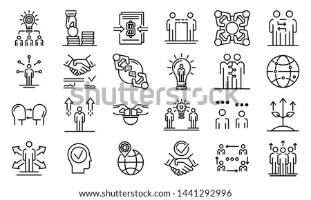Business cooperation icons set. Outline set of business cooperation vector icons for web design isolated on white background