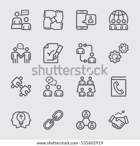 Business cooperation line icon