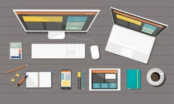 Business corporate organization. Vector devices. Responsive web design. Flat design style concept.