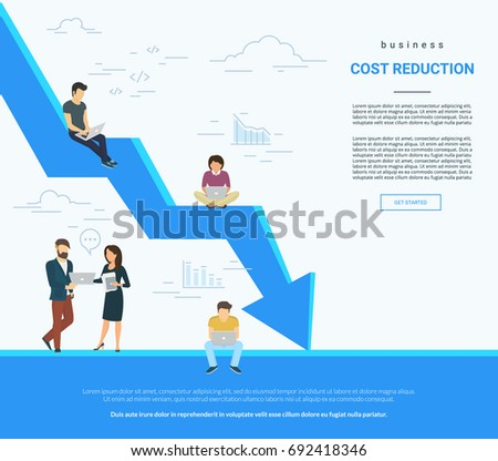 Business cost reduction concept vector illustration of professional people working together as team and sitting on arrow. Flat people with laptops developing and reducing risks and price. White poster ストックフォト ©