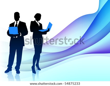 Business Couple  Musician on Abstract Flowing Background Original Illustration