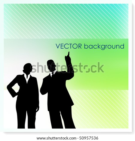 Business Couple on Vector Background Original Illustration