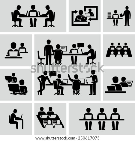 Business Coworkers talking and working at the computers vector icons