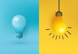 Business creative idea, Inspiration, New idea and Innovation rendering concept vector with light bulb on minimal background. light bulb on bright Blue background in pastel color. Minimalist concept.