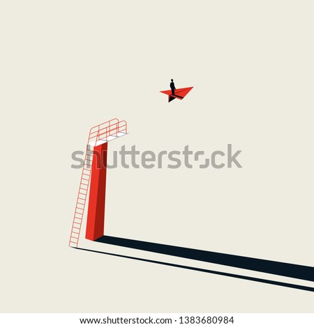 Business creative solution and vision vector concept with businessman flying on paper plane. Minimalist art style. Symbol of progress, vision, innovation. Eps10 illustration.