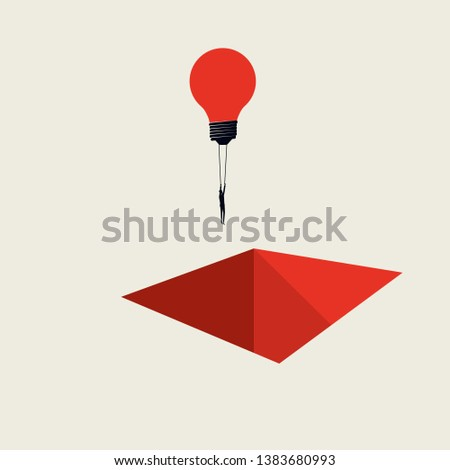 Business creative solution vector concept with businessman flying lightbulb over hole. Minimalista art style. Symbol of innovation, brainstorming, development, progress. Eps10 illustration. Stock fotó ©