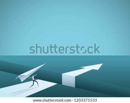 Business creative solution vector concept with businesswoman throwing paper plane over gap. Symbol of creativity, overcoming challenge, success and leadership. Eps10 vector illustration.