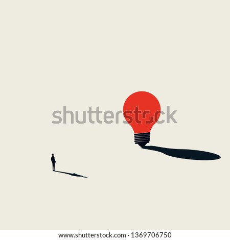 Business creativity vector concept with businessman looking at huge lightbulb. Minimalist artistic style. Symbol of new ideas, innovation, invention, creative process. Eps10 vector illustration.