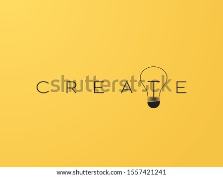 Business creativity vector concept with creative typography and lightbulb. Fresh new ideas symbol. Innovation, inspiration and immagination sign. Eps10 illustration.