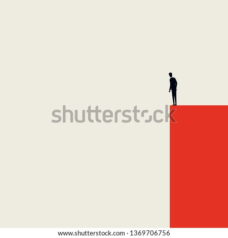 Business crisis, depression or burnout syndrome vector concept. Minimalist artistic style. Businessman standing on edge of cliff. Symbol of stress, recession, failure. Eps10 vector illustration.