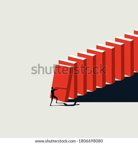 Business crisis domino effect vector concept with businessman pushing domino blocks. Risk, collapse and disruption symbol. Eps10 illustration. Stock photo ©