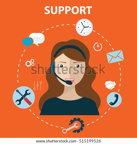 Business customer care service concept flat icons set of contact us support help desk phone call and website click for infographics design web elements vector illustration.